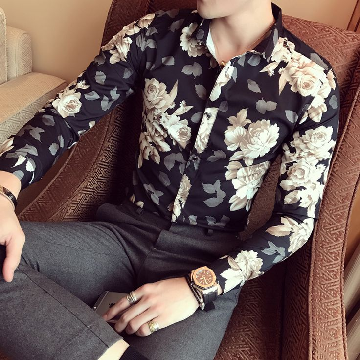 >> Click to Buy << Mens Shirts Flowers Mens Club Outfits British Camisa Flores Hombre Slim Fit Mens Designer Fashionable Shirts Herren Hemd Blume #Affiliate