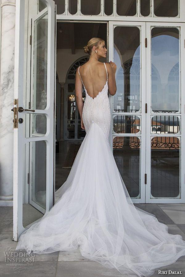 riki dalal 2015 valencia wedding dresses spagetti strap plunging neckline open low back beautiful sheath wedding dress with train