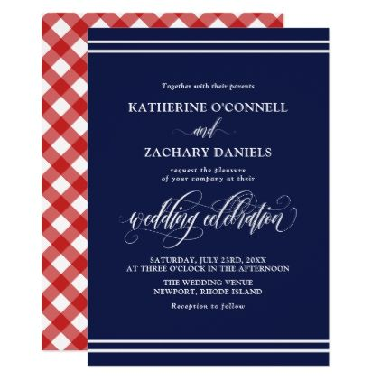 Elegant Dark Blue & Red Gingham Preppy Wedding Card - script gifts template templates diy customize personalize special