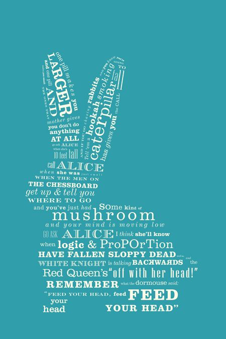 """Jefferson Airplane's -- """"White Rabbit"""" From: Valérie Madill's --16in x 24in typographic poster"""