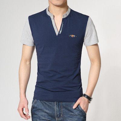 Men's Casual V-Neck Fashion T-Shirts, Navy Blue, White, Red, Gray