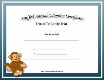 Children with stuffed animals will love this free, printable, academic certificate for stuffed animal adoption. It features a blue border and a happy toy monkey. Free to download and print