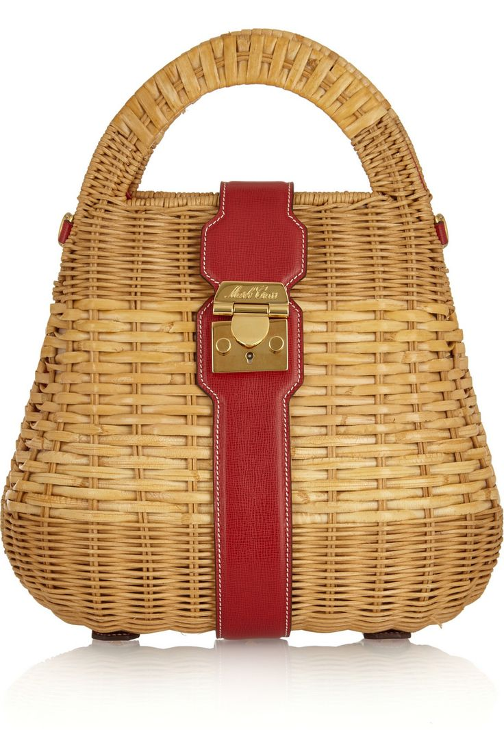 Mark Cross | Manray leather-trimmed rattan tote