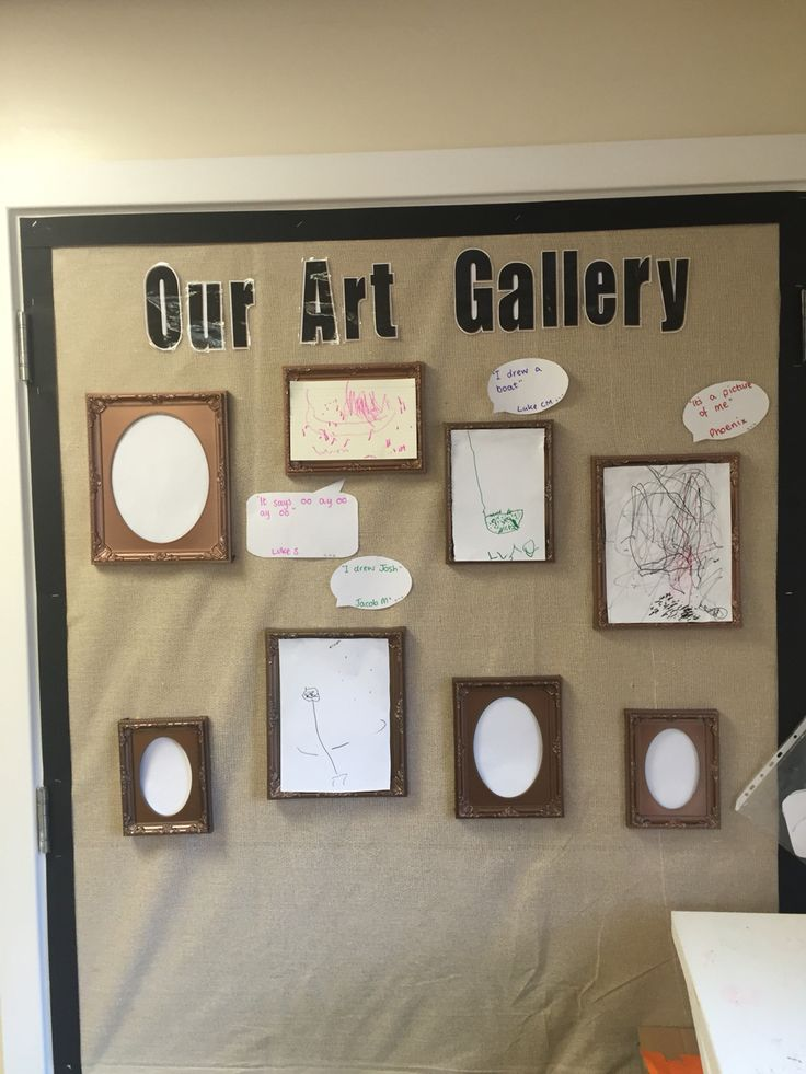 Simple responsive art display. Put some nice frames up and blue tack and pictures your children are proud of including a speech bubble of what they say about the picture.