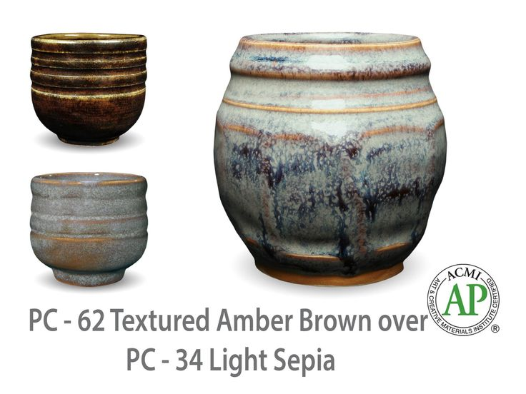 AMACO Potter's Choice layered glazes PC-34 Light Sepia and PC-62 Textured Amber Brown.