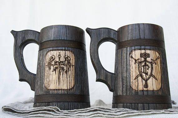 Set of 2 Wooden Beer Mugs, Custom Beer Mugs, Groomsman Beer Mugs, Wedding Party Favor, Wood Tankards, Personalized Beer Mugs, Wooden Mugs