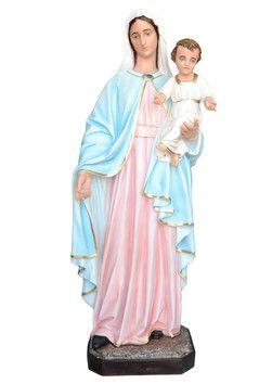 Madonna con Bambino  altezza cm. 170 in vetroresina dipinta  con colori acrilici e finiture ad olio  http://www.ovunqueproteggimi.com/collezione-statue/madonne/con-bambino/