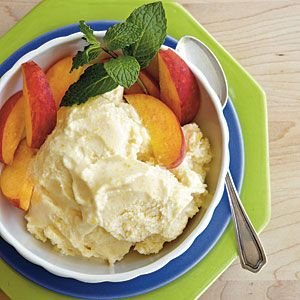 No-Cook Peach Ice Cream | MyRecipes.com  Many homemade ice cream recipes require cooking a custard base, but this easy peach ice cream is made from sweetened condensed milk, evaporated milk, whole milk, and fresh peaches.