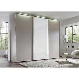 Tolóajtós Szekrény Studioline - homok színű/fehér, modern, üveg/faanyagok (280/240/68cm)