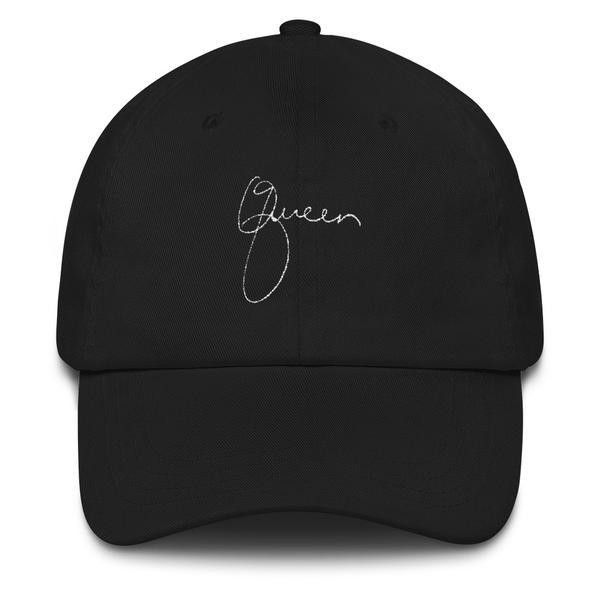 """ Queen"" Dad hat ($35) ❤ liked on Polyvore featuring accessories, hats, sun visor, 6 panel hat, six panel hat, crown hat and sun visor hat"