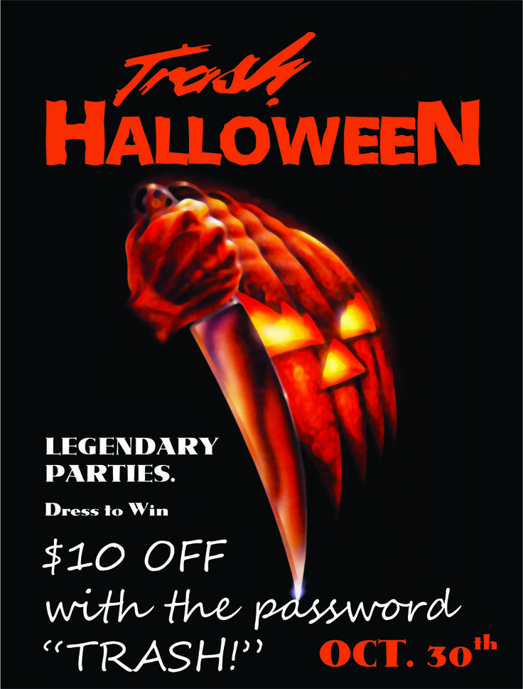 Halloween coroplast signs; Trash Halloween Party wall sign; Halloween Invitation coroplast sign;  Dress to Win; $10 OFF with the password TRASH!; we provide full colour print on coroplast signs