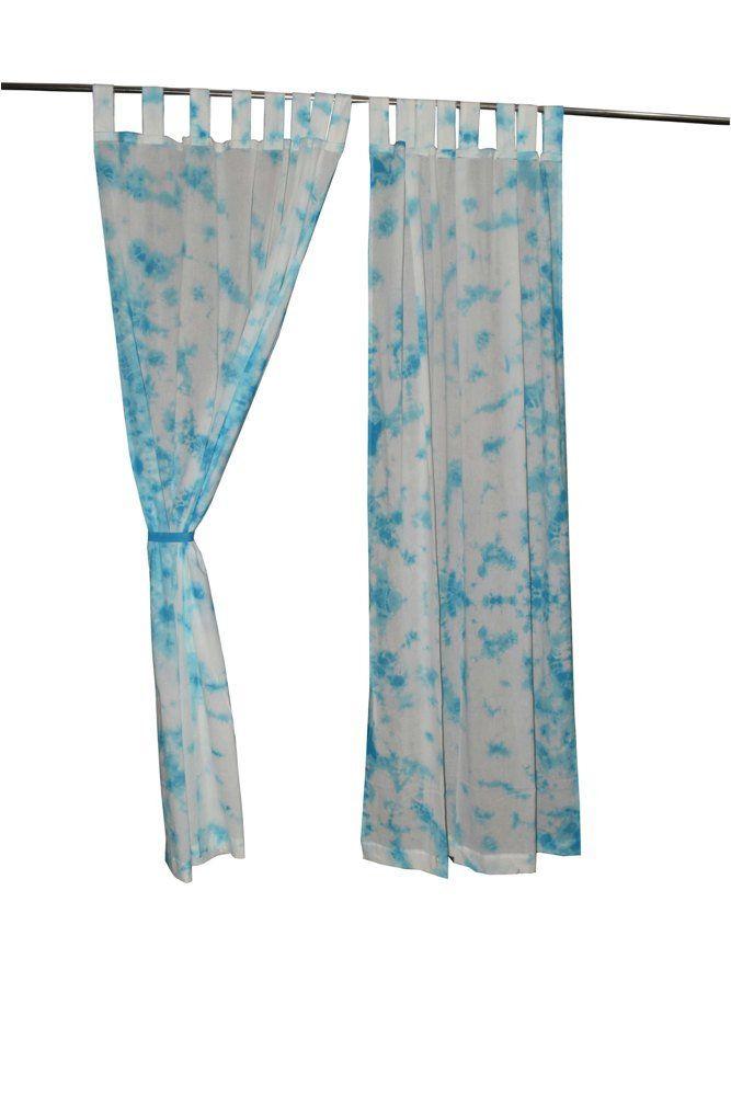 Cotton Bohemian Curtains Boho Decor Beach Curtains Sky Blue White