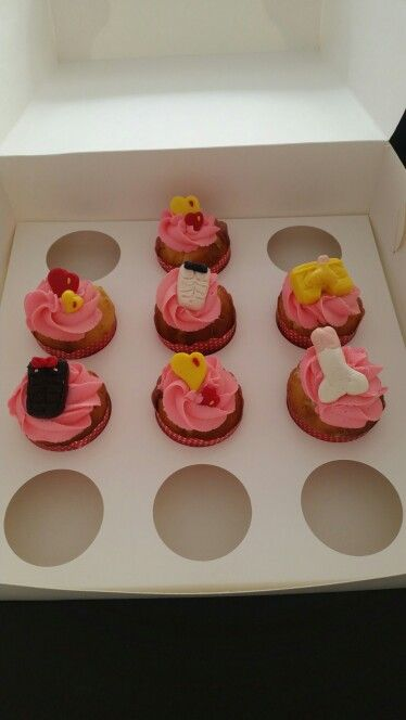 Adult cupcakes - hens night Vanilla cupcakes Strawberry frosting Naughty fondant toppers