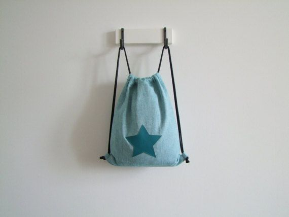 mini gym bag turquoise star pattern cotton for children