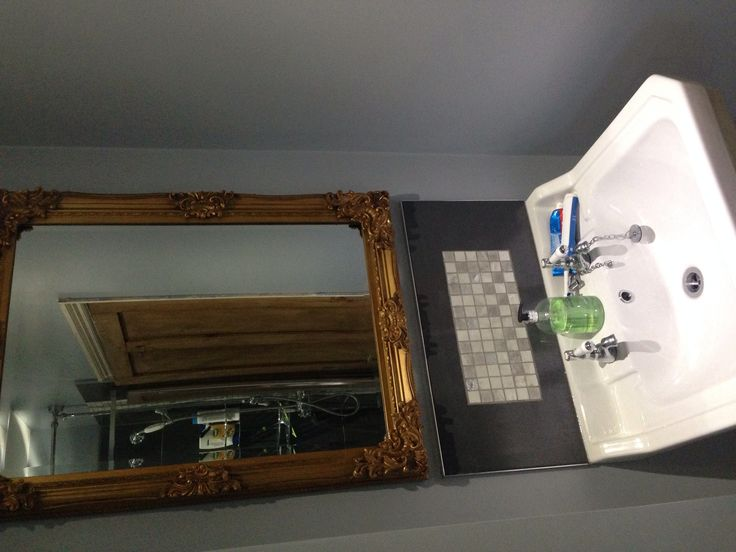Ornate gold mirror for the bathroom!