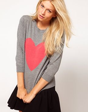 asos heart sweater: Heart Sweaters, Enlarge Asos, Heart Design, Asos Sweater, Closet, Asos Heart Jumper, Valentine, Pleated Skirts, Adorable Heart