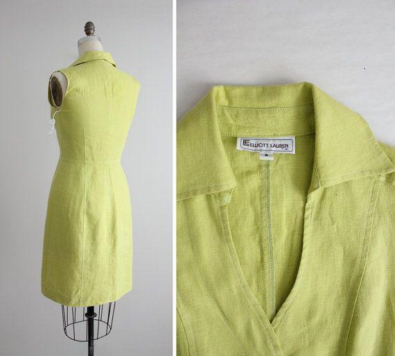 linen dress / lime green dress / linen dress woman by allencompany