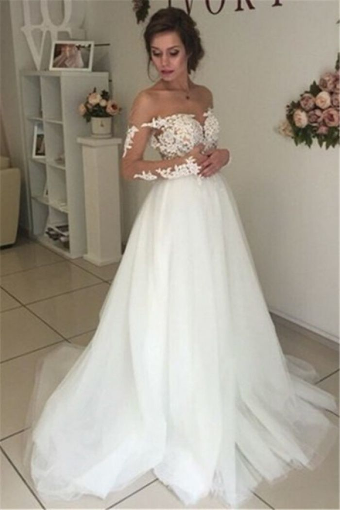 Sheer Long Sleeve Lace Wedding Dresses 2018 Open Back Tulle Ball
