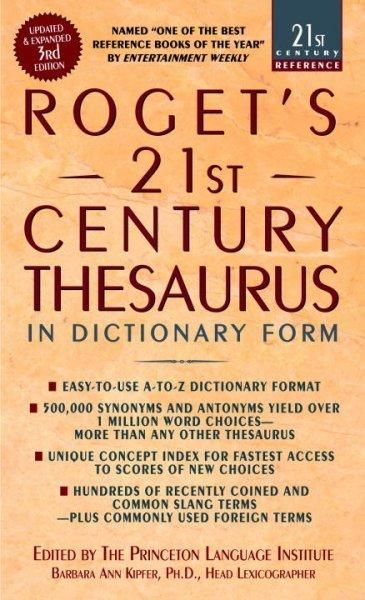 Combining scholarly authority with an awareness of todays communication demands, Rogets 21st Century Thesaurus is the simple, reliable way to find the perfect word for your needs. It features an easy-