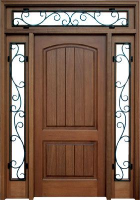 Solid wood stock door with wrought iron sidelights and transom.