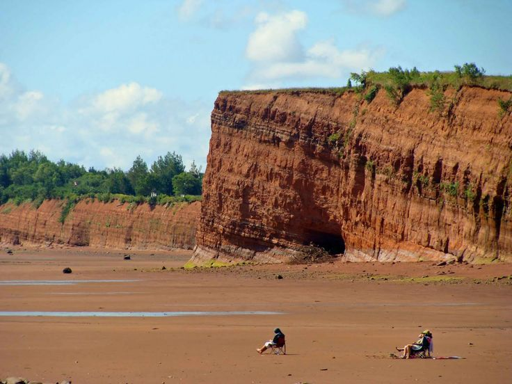 Beach at Blomidon Provincial Park, near Wolfville, Nova Scotia, at low tide. In six hours, when the tide comes in, if they stay, they will be under 30 feet of water. Love the rock formation in the background.