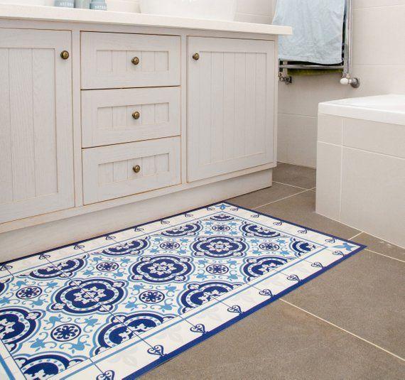Moroccan Tiles Floor Mat Pvc Kitchen Rug Linoleum Area Rug Etsy Vinyl Flooring Kitchen Vinyl Flooring Vinyl Floor Mat