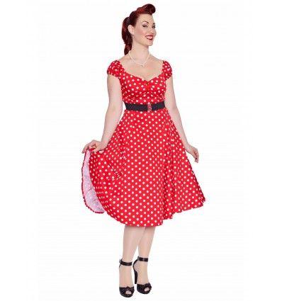 """Vous avez aimé notre top """"Dolores"""", mais vous allez adorer la robe du même nom avec ses manches bouffantes avecsonjoli décolleté, ses boutons nacrés et son plissage sur le bustier pour bien mettre en valeur vos formes.Cette jolie robe """"swing"""" se ferme avec un zip invisible sur le dos. Son style fifties vous donnera une parfaite allure de Pin-Up !"""