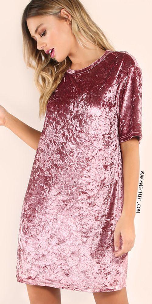 Velvet T-shirt Dress PINK