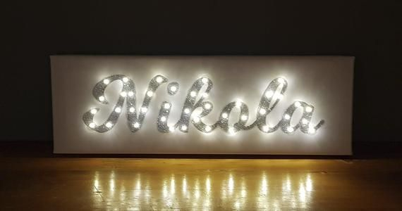 Glitter Name Sign Sweet 16 Backdrop Sweet 16 Decorations Sweet 16 Gift Custom Name Sign Silver Light Up Letters Silver Light Up Name Light Up Letters Sweet 16 Decorations Name Signs