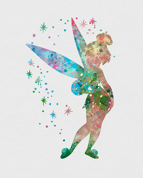 Tinker Bell Watercolor Art... They have a ton of Disney characters!! Super cool