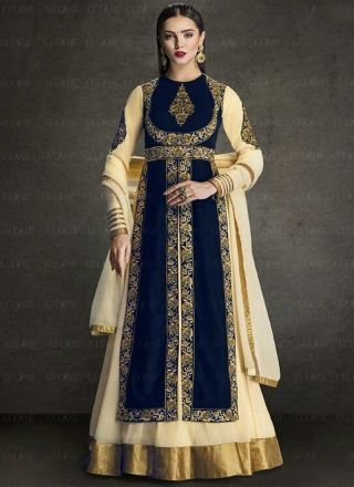 Cream Blue Embroidery Work Velvet Georgette Designer Anarkali Long Gown Suit http://www.angelnx.com/Salwar-Kameez/Anarkali-Suits