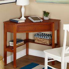Corner Computer Desks For Home Small Wood Reading Writing Drawer Cherry Veneer