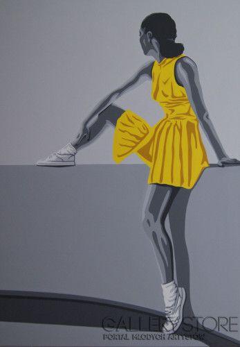Wojciech Urbańczyk-żółta sukienka-Akryl