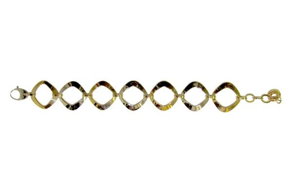 Woman´s two-tone bracelet with alternating white and yellow polished gold rhombs, title 750/1000 , 18 Kt; length cm. 20; snap closure.