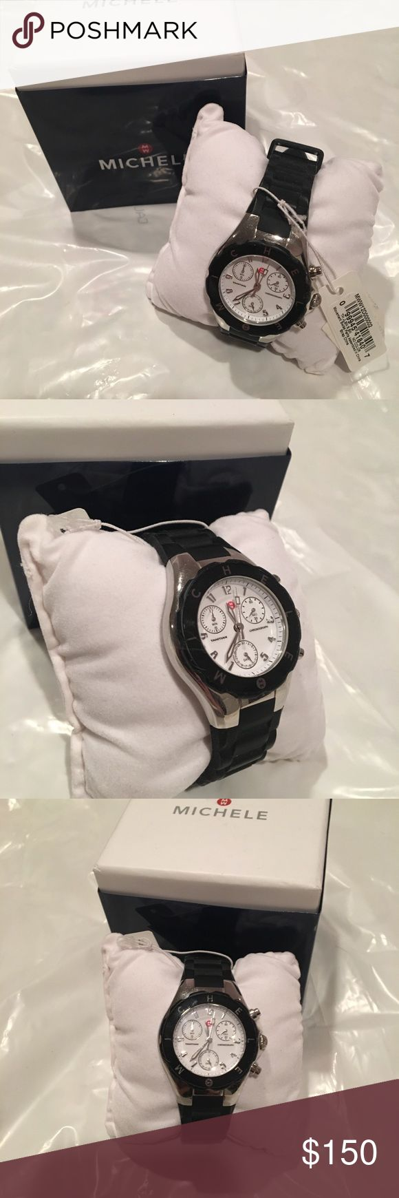 Michele watch Black rubber band michele watch. Very comfortable and great size! Michele Accessories Watches