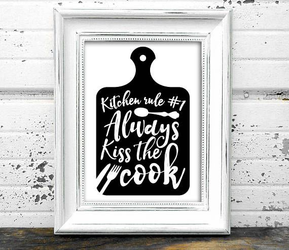 Kitchen Print  // Kiss the Cook Print // Instant Download
