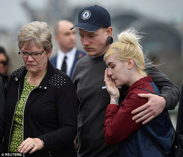 Heartbroken: Melissa, from West Bountiful, Utah, will attend Westminster Abbey's Service of Hope with her parents Sandra and Dimmon Payne. Pictured from left to right: Melissa's husband's sister Sandy, son Dallas and his partner Cheyenne Peck