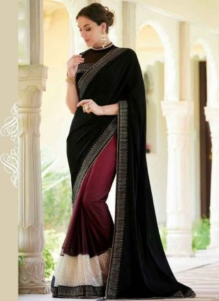 Dazzling Black And Purple Georgette Patch Border Work Saree