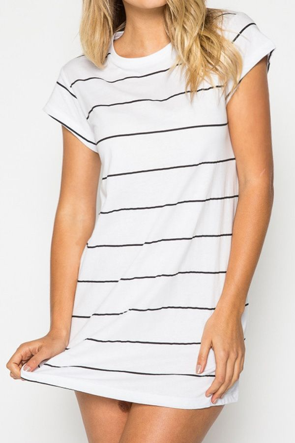 Striped White Cap Sleeve T-Shirt Dress