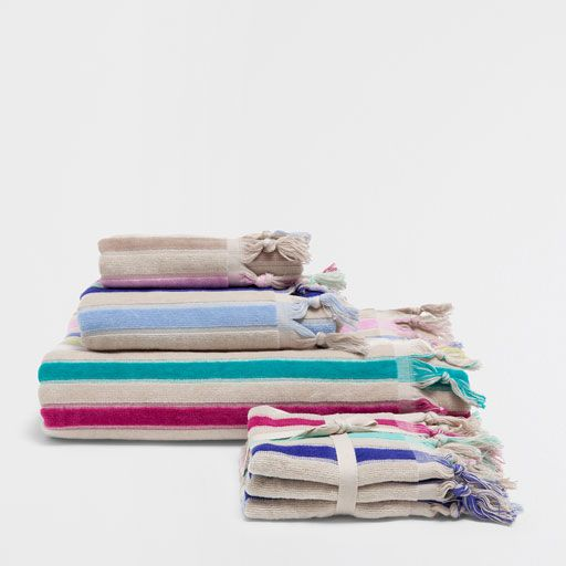 Image of the product STRIPED MULTICOLOURED COTTON TOWELS WITH KNOTS