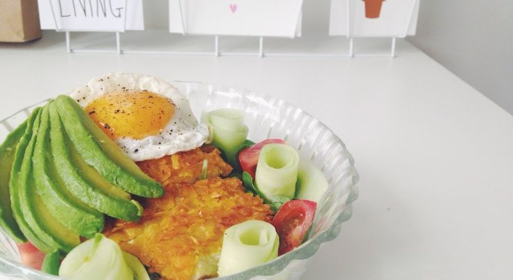 Salade met krokante kip schnitzel
