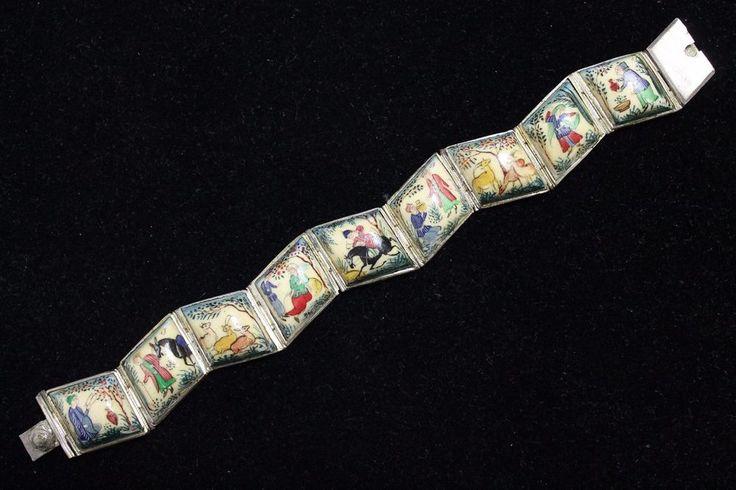 Antique Persian Camel Bone Sterling Silver Story Book Bracelet ~ Hand Painted #Handmade