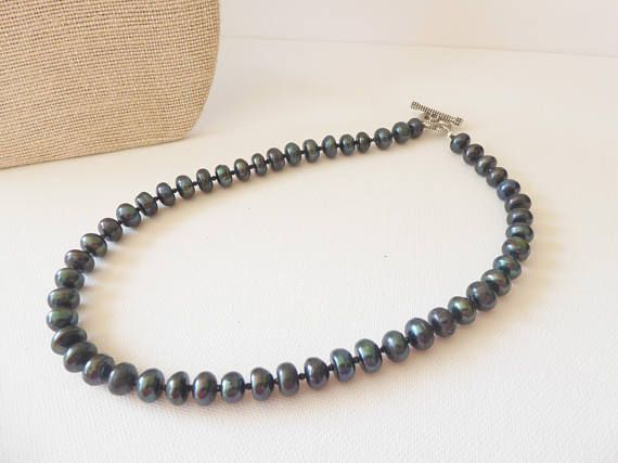 Black pearls Freshwater Pearl necklace Dark pearl necklace