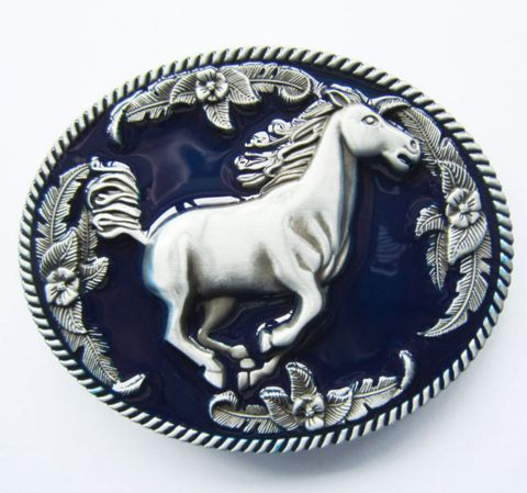 Nice 3d horse flowers belt buckle with dark blue enamel effects on the design.