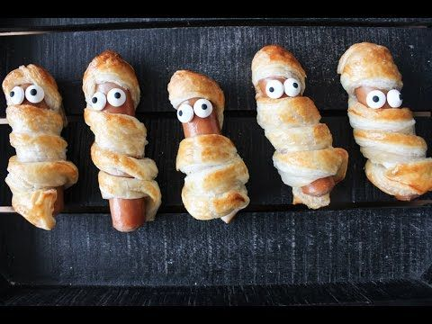 How To Make Puff Pastry Sausage Roll Mummies (Halloween) - By One Kitche...