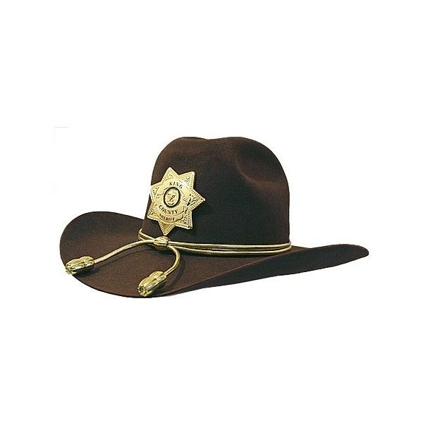 The CDH - Inspired by the Deputy Sheriff's Hat worn by Rick and Carl... ❤ liked on Polyvore featuring accessories, hats, walking dead and sheriff hat