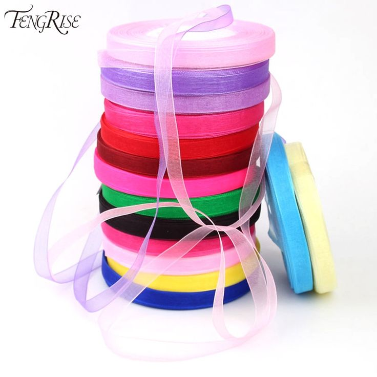 FENGRISE Wedding Decoration 10mm Organza Ribbon Gifts Wrapping DIY Roll Birthday Party Favors Bridal Baby Shower Crafts Supplies