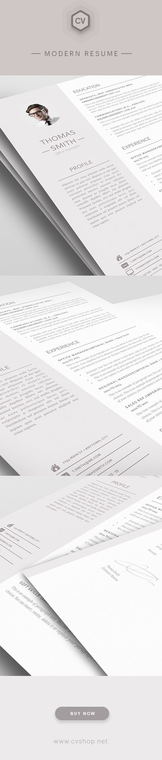 modern resume template 110960 premium line of resume cover letter templates easy edit with ms word apple pages - Best Resume Templates For Word