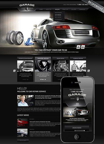 Car Repair Service Wordpress template, Monile responsive Wordpress theme