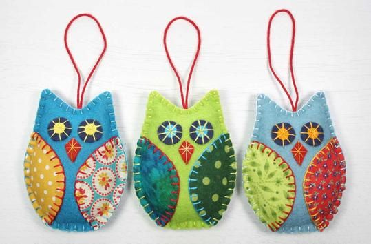 Owl PDF pattern, Felt owl ornament pattern, Owl sewing pattern, Felt Christmas ornament pattern